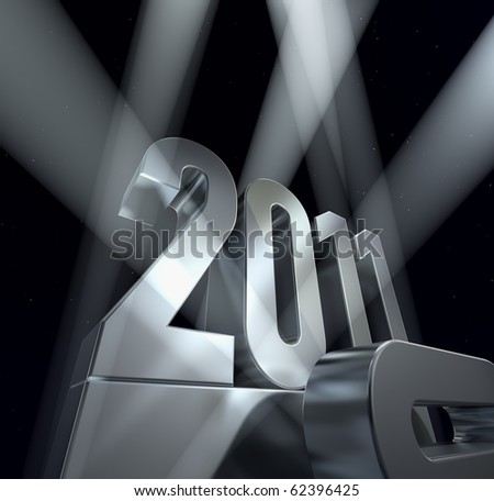 Year 2011 Number 2011 on a silvery pedestal