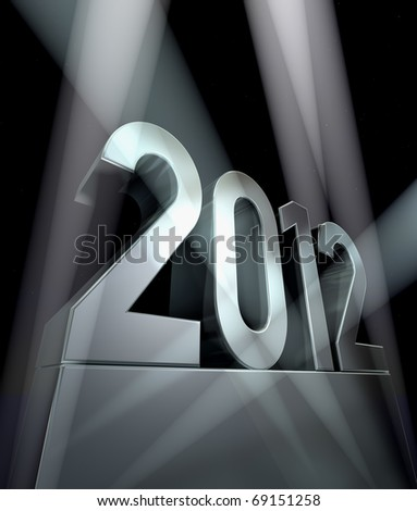 Year 2012  Number 2012 on a silvery pedestal  at a black background