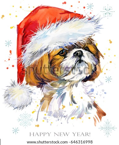 year of the dog happy new year greeting card puppy in santa hat watercolor