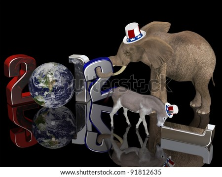 Year of the Republican 2012. Political donkey pushing a fallen 1 away while an elephant sets a 2 in place. Isolated on a black background.