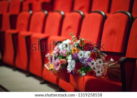 Year of theater in Russia. Scene. Theatrical scenery. Performance.Drama theatre hall. Angle lens. #1319258558