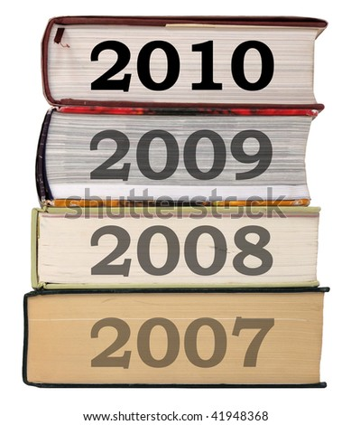 Year 2010 on a book stack
