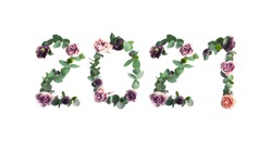 Year 2021, photo number design with leaves and flowers on the white background.