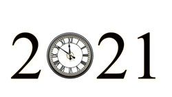 Year 2021 using Clock with roman numerals for hours, hands at nine minutes to twelve o'clock for the zero, isolated on white.