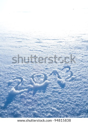 Year 2013 written in Snow in High Key