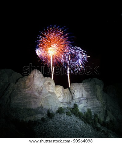 Yearly 4th of July fire works show at famous Mt. Rushmore National Park in the Black Hills of South Dakota.