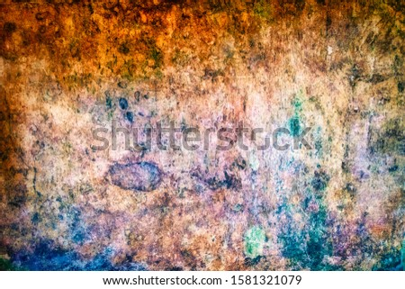 Years of patina and grime on an ancient monastery wall in Sintra Portugal #1581321079