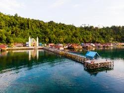 Yeben Village, Cenderawasih Bay, West Papua. Indonesia. Cristian remote village. Indigenous tribe. Papua Barat. Teluk Cenderawasih