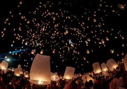 Yee Peeng latern festival in Thailand