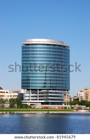 YEKATERINBURG CITY - JUNE 15: President buisness center in Yekaterinburg, Russia on June 15, 2011. It is a new business in the downtown of the city with a helipad in the construction process