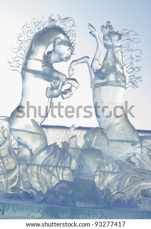 """YEKATERINBURG - JANUARY 03: """"Dance to the tune of horses"""" by Sergei Zinger, annual competition of ice shapes, January 03, 2012 in Yekaterinburg, Russia"""