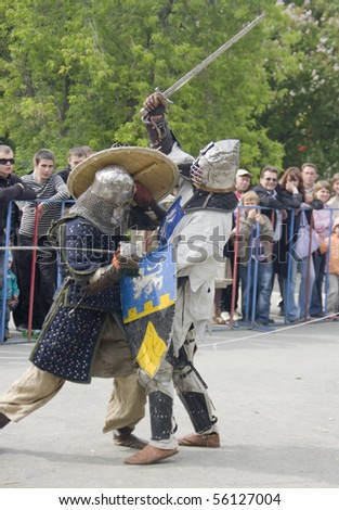 YEKATERINBURG - JUNE 12: Youth Festival reconstruction, joust. Event 12 june, 2010 in Yetaterinburg, Russia.