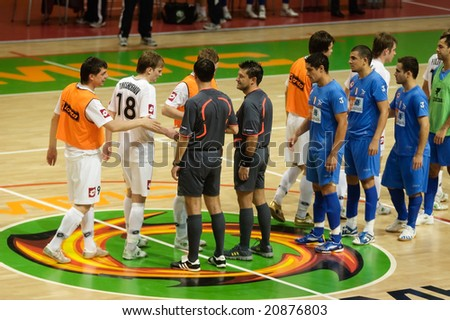 YEKATERINBURG, RUSSIA - NOV 11. UEFA Futsal Cup 2008-2009 game between VIZ-Sinara (Yekaterinburg) and Luparense (Italy). Viz-Sinara won 5:3 on November 11, 2008.