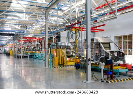 Yelabuga Russia May 12 2014 assembly line vehicles Ford Sollers plant in the special economic zone Alabuga