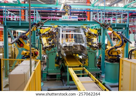 Yelabuga, Russia - May 12, 2014: assembly line vehicles Ford Sollers plant in the special economic zone \