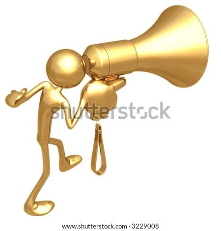 Yelling In Giant Golden Megaphone