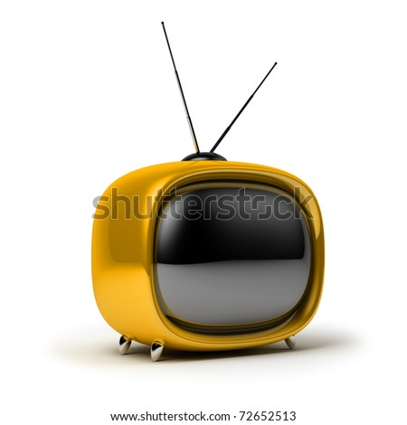 Yellow a retro the TV. 3d image. Isolated white background.