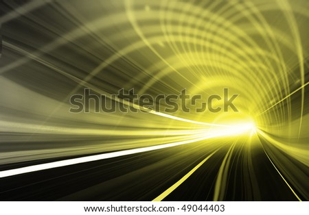 Yellow Abstract blurred speed motion in urban highway road tunnel, moving toward the light. Computer generated illustration