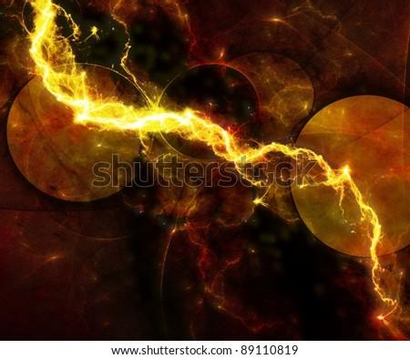 yellow abstract lightning - stock photo