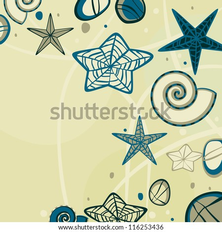 Yellow abstract sandy background with doodle starfish and pebbles