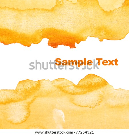 Yellow abstract watercolor background with space for your own text