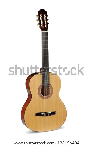 Yellow acoustic guitar on a white background