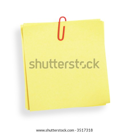 Yellow adhesive note on white background (with clipping path)