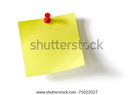 Yellow adhesive note with red push pin