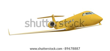 Yellow airplane isolated on white with clipping path
