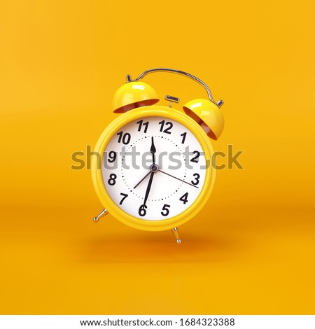 Yellow alarm clock on a yellow background, 3D render