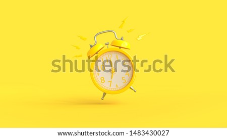 Yellow alarm clock was ringing at 7.00 and copy space for your text. Minimal idea concept, 3D Render.