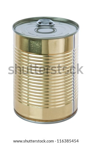 Yellow aluminum tin can on a white background.