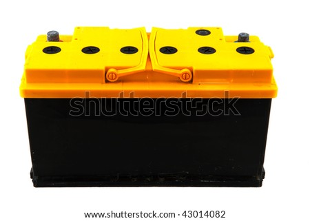 Yellow and black car battery isolated over white