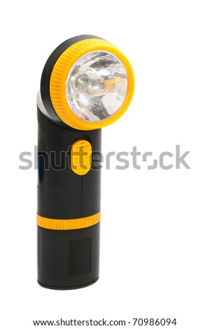 Yellow and black handle electric torch (pocket) flashlight isolated on white background