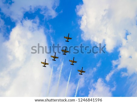 Yellow and black planes in the sky during airshow. (Planes from Baltic Bees)