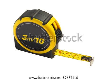 Yellow and black tape measure, isolated on white background with clipping path