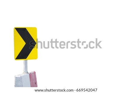 Yellow and Black Way sign for milestone isolated on white background. Travel planning. Signs and Symbols. #669542047
