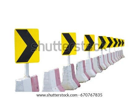 Yellow and Black Way sign for milestone isolated on white background. Travel planning. Signs and Symbols. #670767835