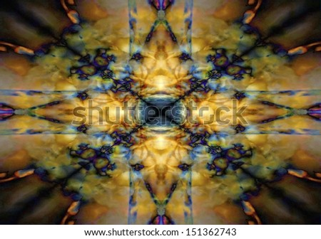 Yellow and blue mystical star gothic background