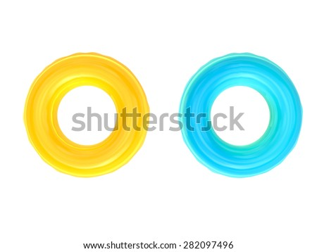 yellow and blue pool rings 3d render isolated on white