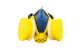 Yellow and blue respirator top view  isolated on a white background. Tools series.