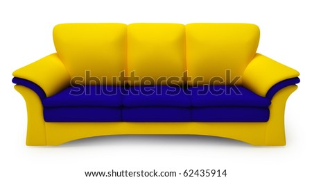 Yellow and blue sofa isolated on white background