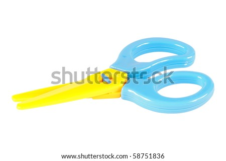Yellow and cyan toy plastic scissors isolated on white