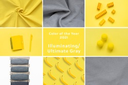 Yellow and gray collage, concept color of year 2021. Nine different photo and name of color in centre.