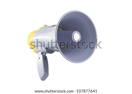 Yellow and gray megaphone on white background.