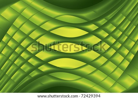 yellow and green background macro image of paper origami pattern made of curved shapes.