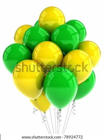 Yellow and green party balloons over white background