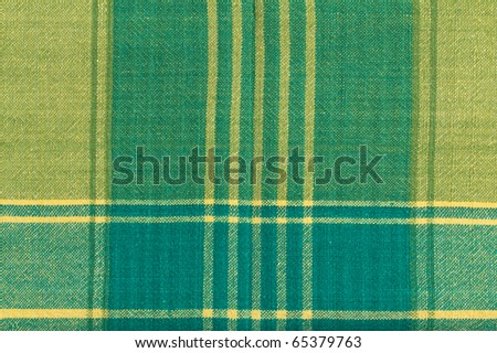 Yellow and Green Plaid Cotton Fabric Background