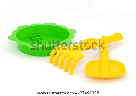 Yellow and green sandbox toys