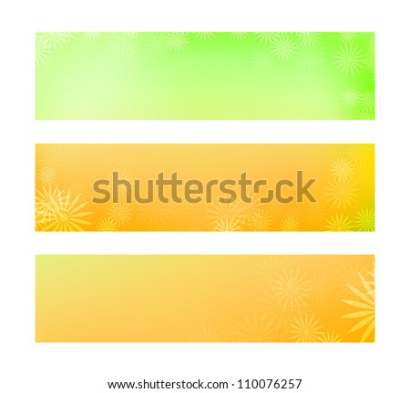 Yellow and green soft floral summer banners - raster version